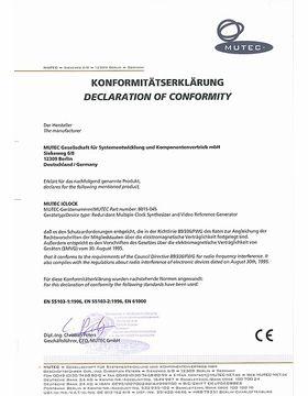 CE Certificate of conformity