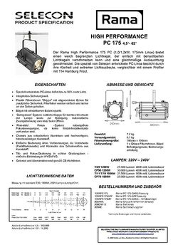 Selecon Rama 175 PC HP Datenblatt