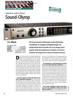 Recording Magazin Universal Audio Apollo - Sound-Olymp