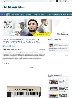 Amazona.de Report: Namm News 2013 - Synthesizer Digital - Workstation, E-Piano, E-Orgel