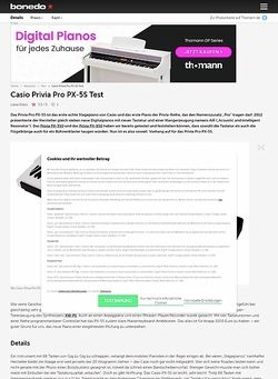 Bonedo.de Casio Privia Pro PX-5S Test