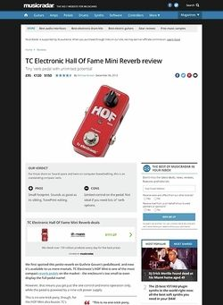 MusicRadar.com TC Electronic Hall Of Fame Mini Reverb