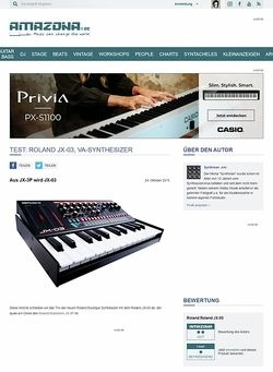 Amazona.de Test: Roland JX-03, VA-Synthesizer