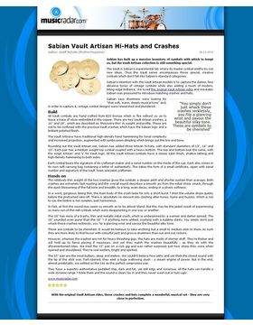 Sabian Vault Artisan Hi-Hats and Crashes