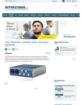 Test: Presonus, Audiobox 22VSL, USB Audio Interface
