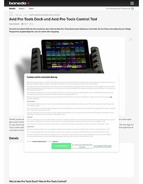 Avid Pro Tools Dock und Avid Pro Tools Control