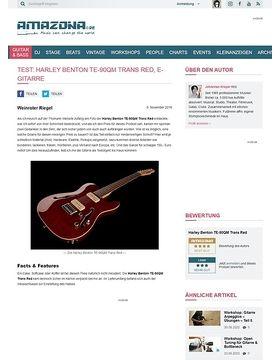 Harley Benton TE-90QM Trans Red, E-Gitarre