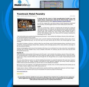 MusicRadar.com Toontrack Metal Foundry