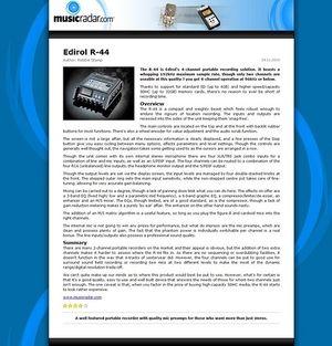 MusicRadar.com Edirol R-44