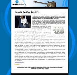 MusicRadar.com Yamaha Pacifica 212 VFM