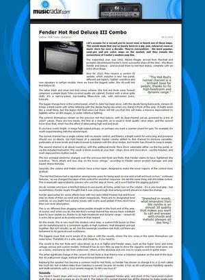 MusicRadar.com Fender Hot Rod Deluxe III Combo