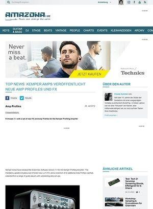 Amazona.de Top News: Kemper Amps veröffentlicht neue Amp Profiles und FX