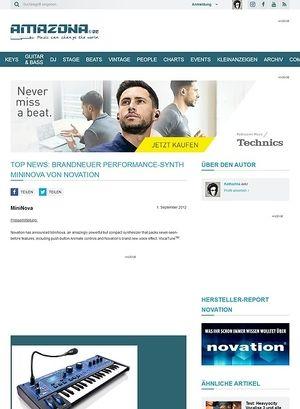 Amazona.de Top News: Brandneuer Performance-Synth MiniNova von Novation