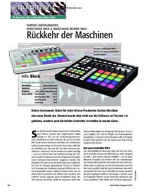 Recording Magazin Native Instruments Maschine MK2 & Machine Mikro MK2
