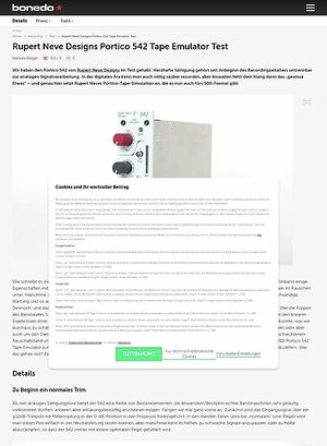Bonedo.de Rupert Neve Designs Portico 542 Tape Emulator Test