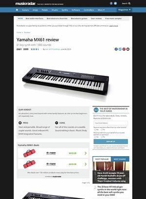 MusicRadar.com Yamaha MX61