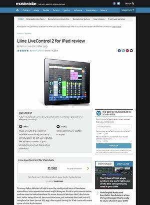 MusicRadar.com Liine LiveControl 2 for iPad