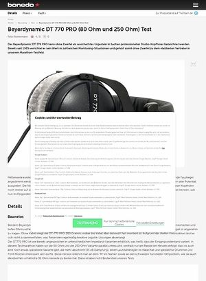 Bonedo.de Beyerdynamic DT-770 Pro (80 Ohm und 250 Ohm) Test