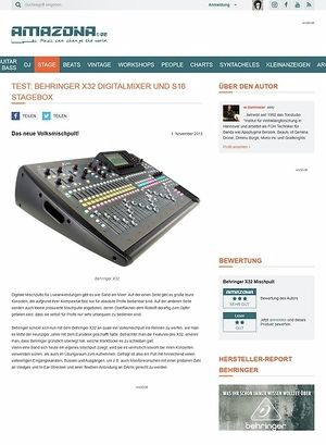 Amazona.de Test: Behringer X32, Digital Mischpult