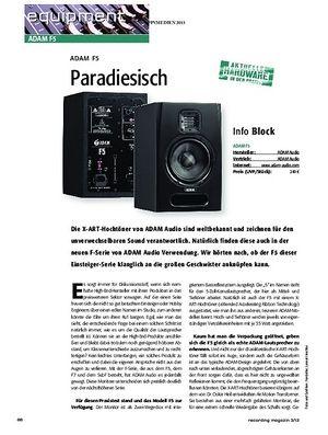 Recording Magazin Adam F5