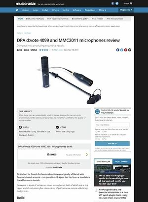 MusicRadar.com DPA d:vote 4099 and MMC2011 microphones