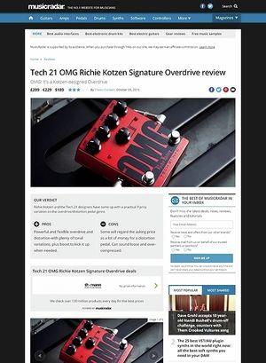 MusicRadar.com Tech 21 OMG Richie Kotzen Signature Overdrive