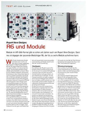 KEYS Rupert Neve Designs: R6 und Module