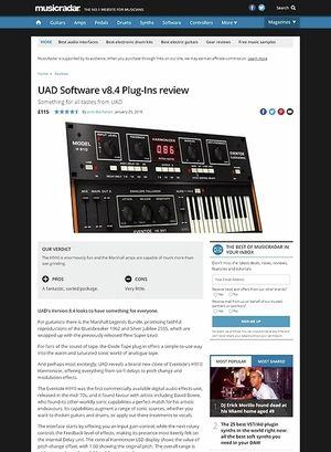 MusicRadar.com UAD Software v8.4 Plug-Ins