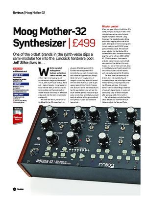 Future Music Moog Mother-32 Synthesizer