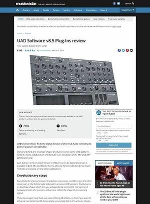 MusicRadar.com UAD Software v8.5 Plug-Ins