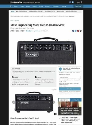 MusicRadar.com Mesa Engineering Mark Five 35 Head